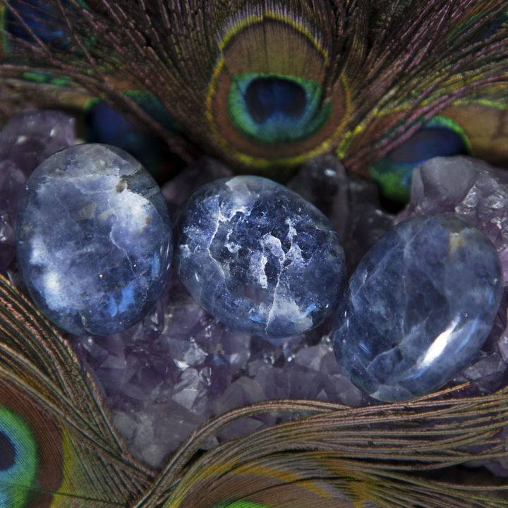 Guiding Third Eye Iolite Palm Stones