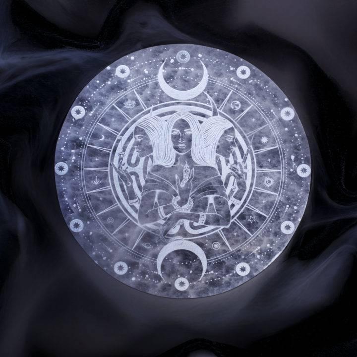 Hecates Wheel Engraved Selenite