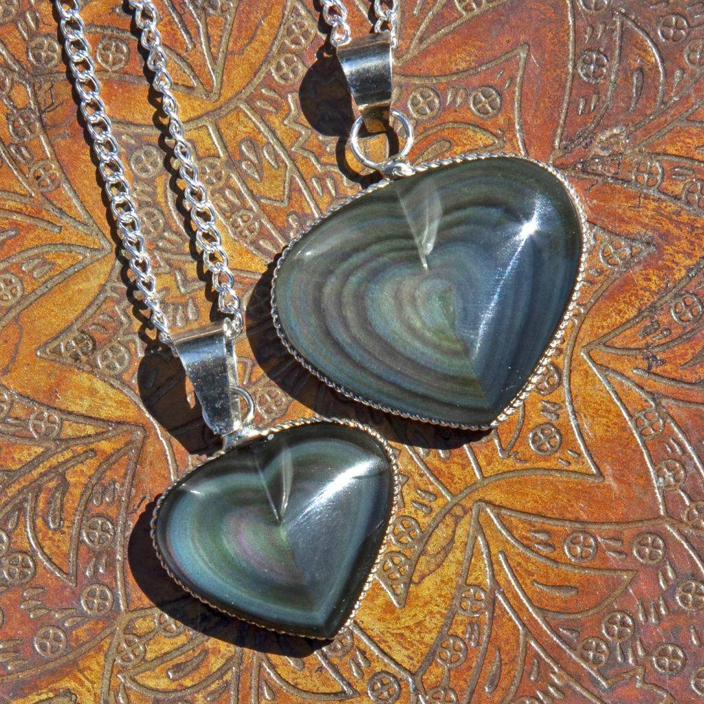 44x43x14mm 1Pcs Rainbow Titanium Crystal Heart Pendant Bead