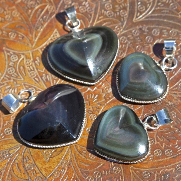 Into the Light Rainbow Obsidian Heart Pendants