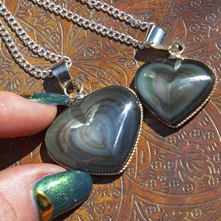 Into the Light Rainbow Obsidian Heart Pendants