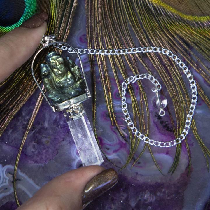 Labradorite and Clear Quartz Ganesha Pendulums