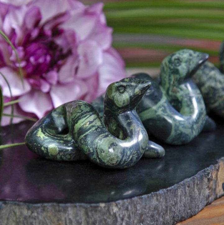 Kambaba Jasper Snake Carvings