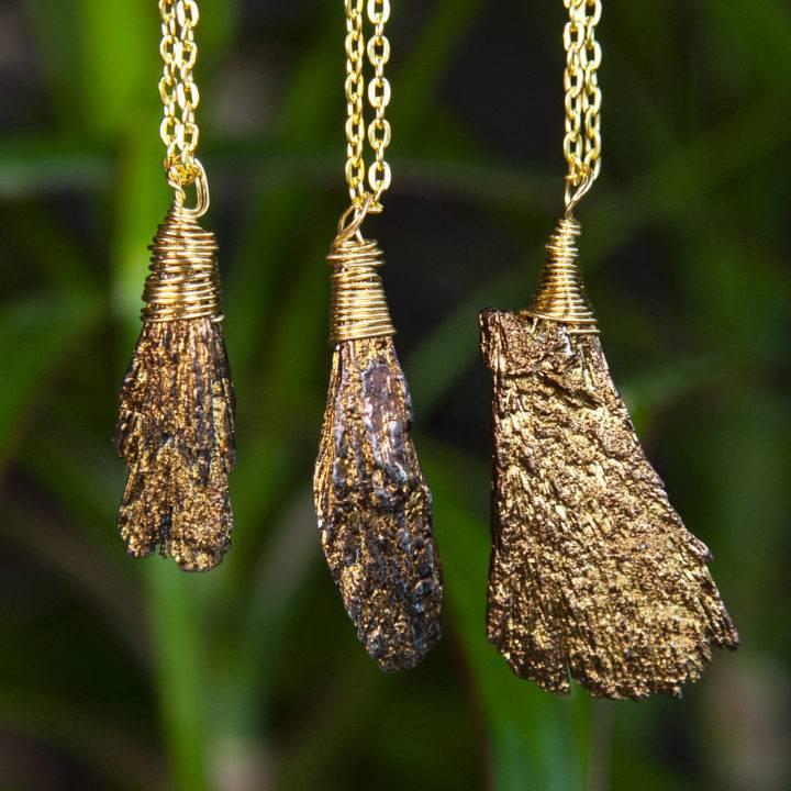 Copper Aura Kyanite Pendants