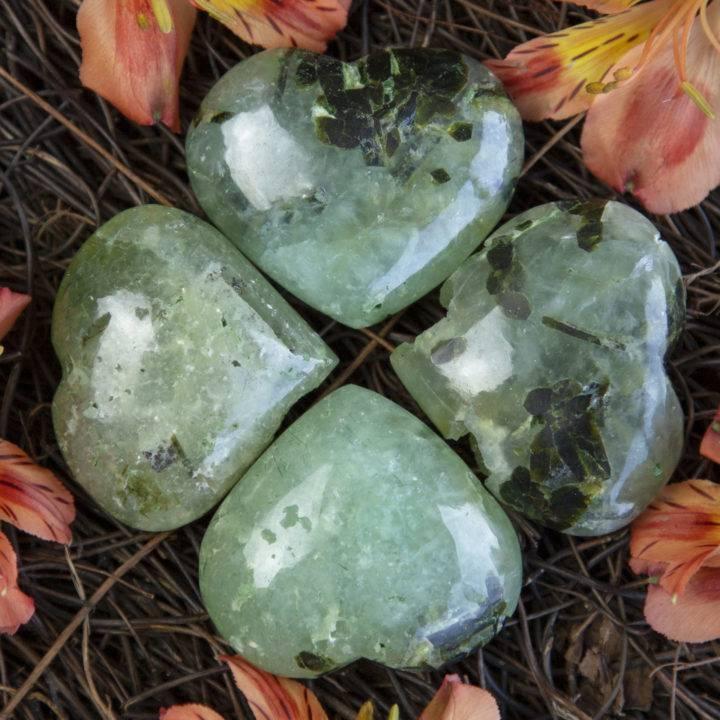 Manifest Healing Prehnite With Epidote Hearts