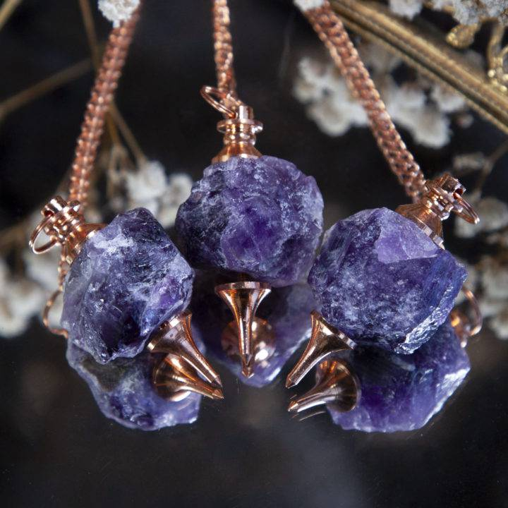 Natural Amethyst and Copper Pendulums