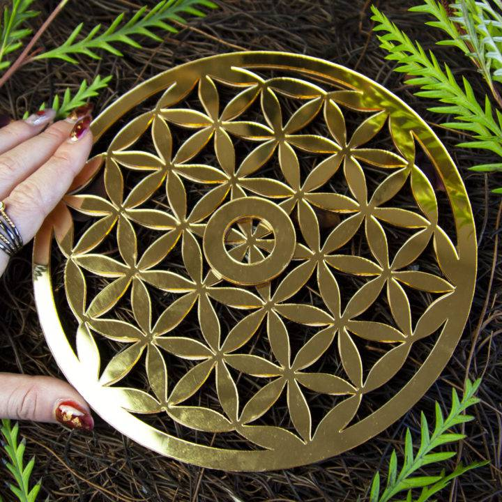 Nellite Sphere with Flower of Life Sphere Stand
