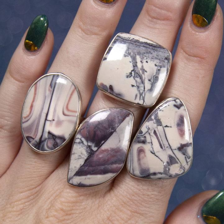 Porcelain Jasper Sterling Silver Rings
