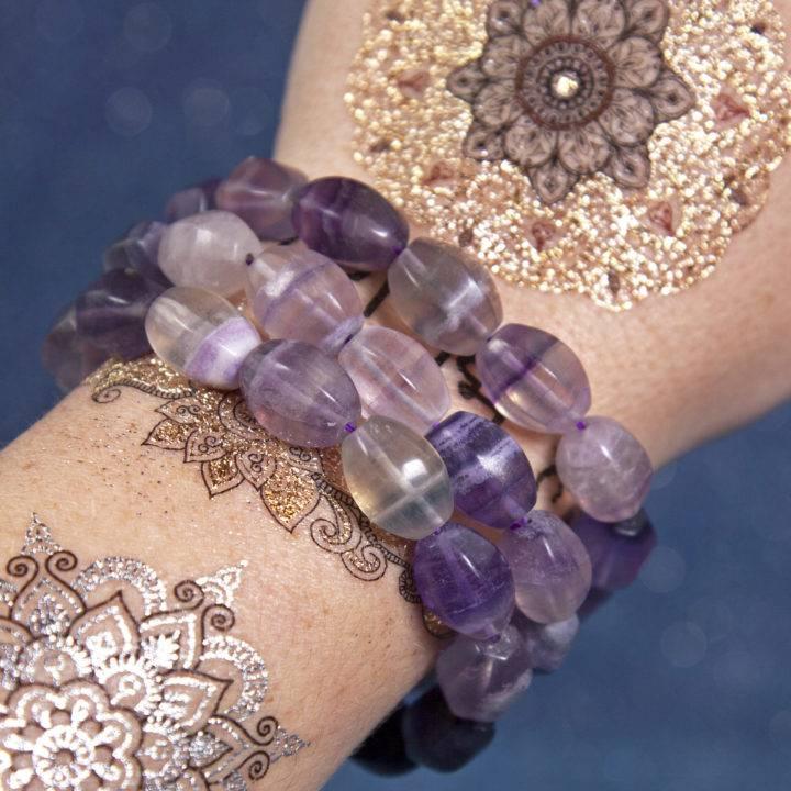 Purple Fluorite Barrel Bracelets
