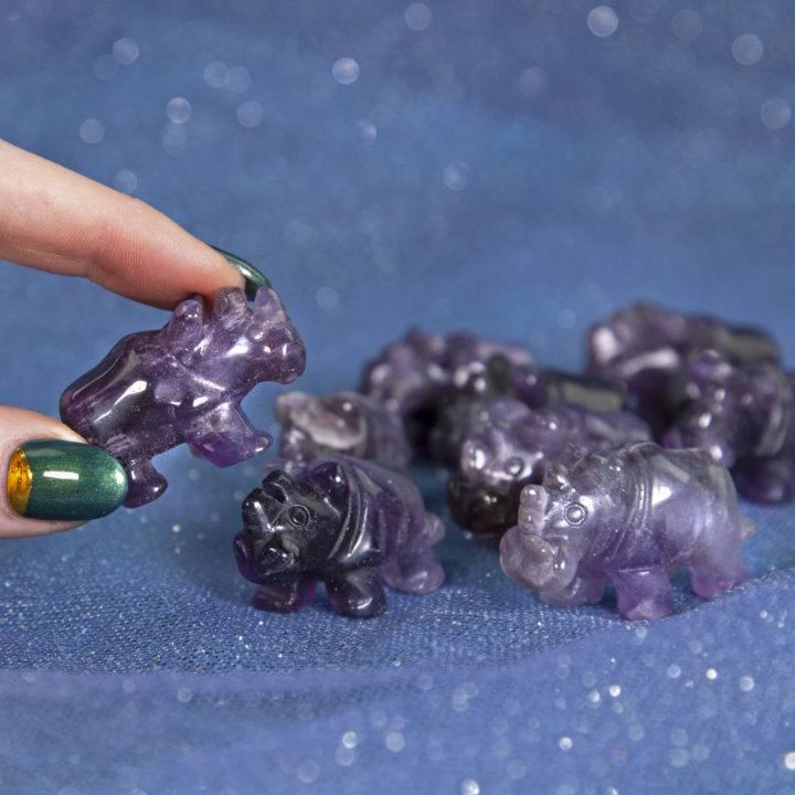Purple Fluorite Rhinos