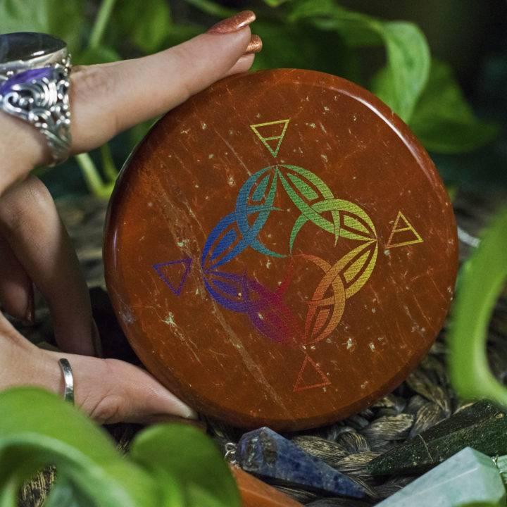 Red Jasper Elemental Pendulum Plate with Intuitive Pendulum