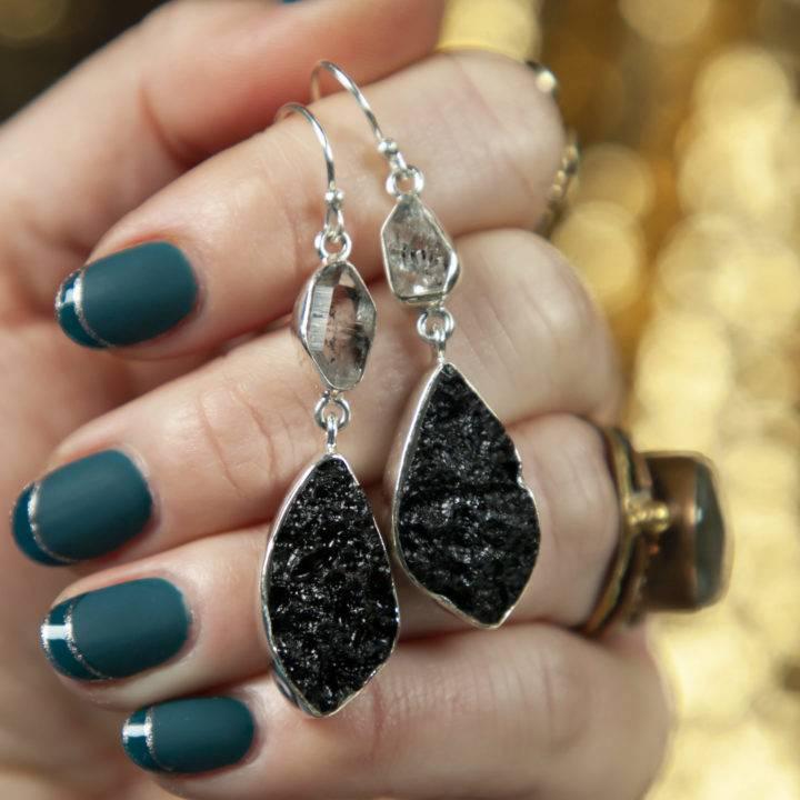 Tektite and Herkimer Diamond Earrings