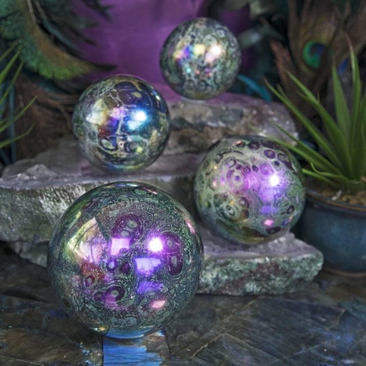 Titanium Aura Kambaba Jasper Spheres