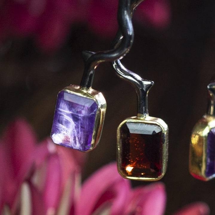 Amethyst and Garnet Thorn Earrings