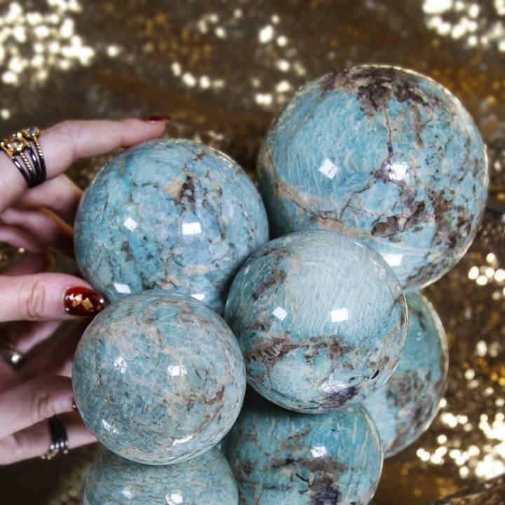 Amazonite and Smoky Quartz Spheres