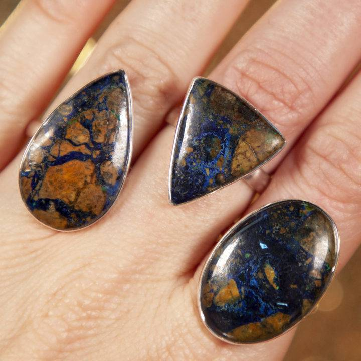 Azurite Sterling Silver Adjustable Rings