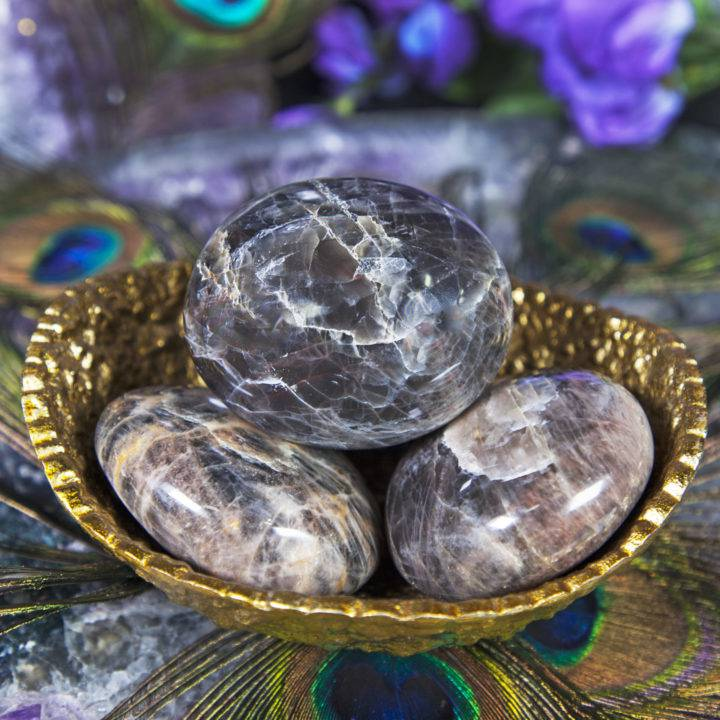 Black Moonstone Intention Setting Palm Stones