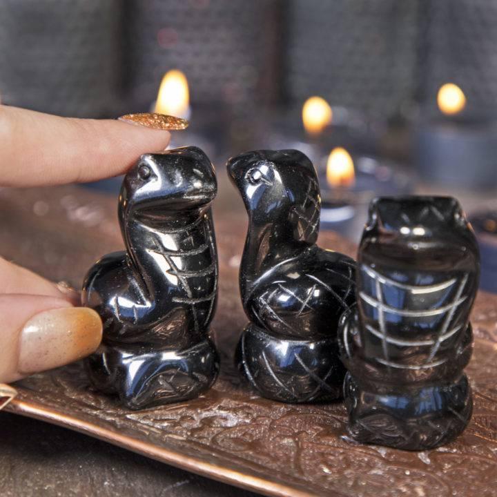 Black Obsidian Snake Carvings