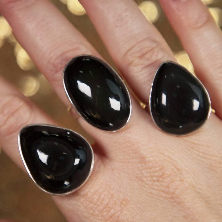 Black Obsidian Sterling Silver Adjustable Ring