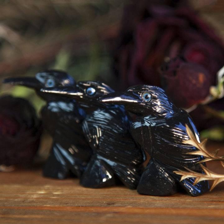 Black Onyx Crow Carvings