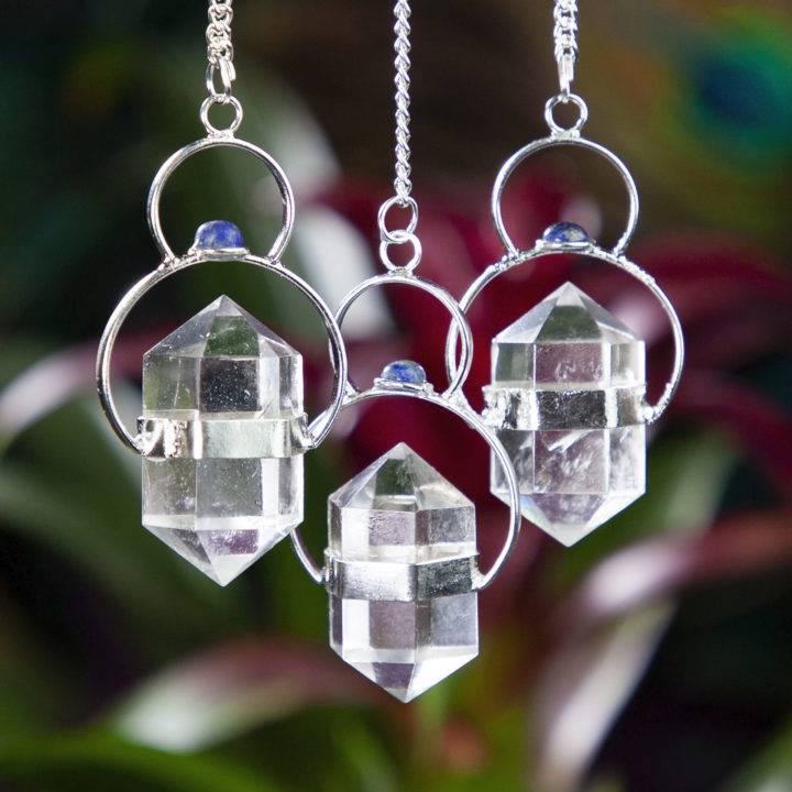 Double Terminated Clear Quartz and Lapis Pendulums