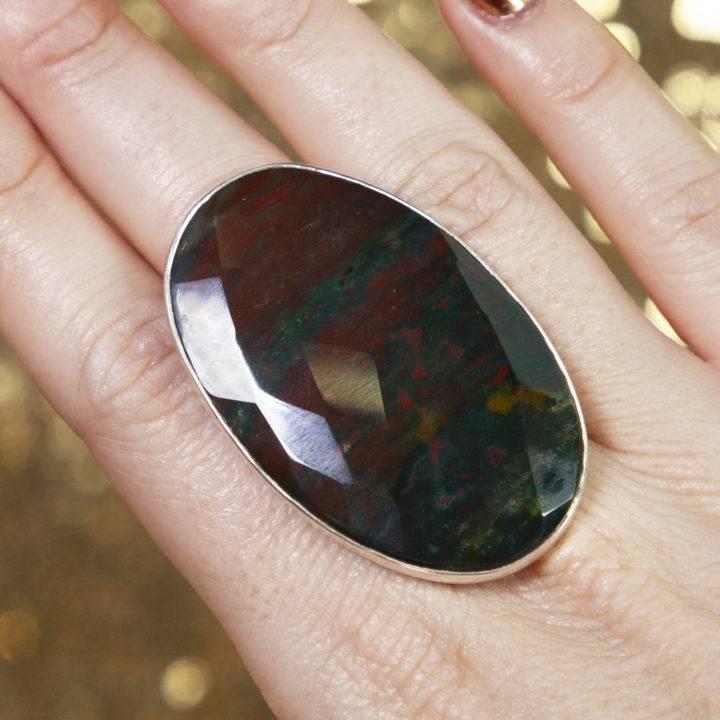 Faceted Bloodstone Sterling Silver Adjustable Rings