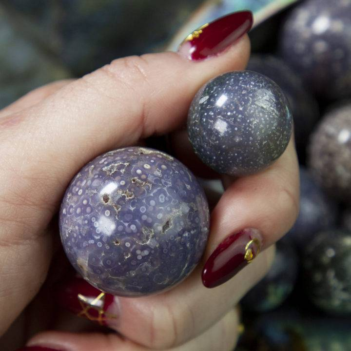 Grape Chalcedony Goddess Spheres