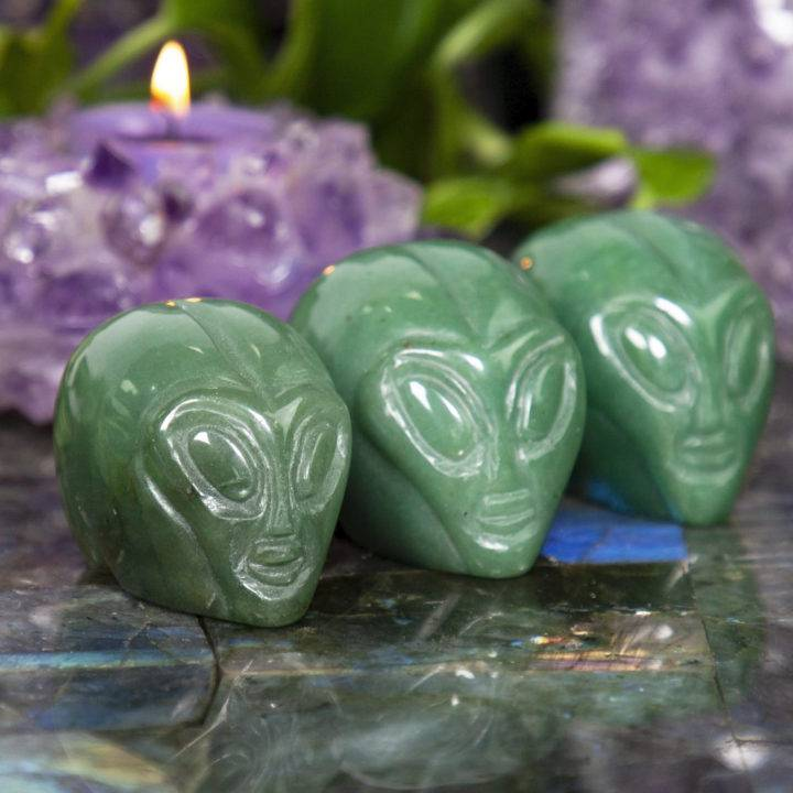 Green Aventurine Alien Skulls