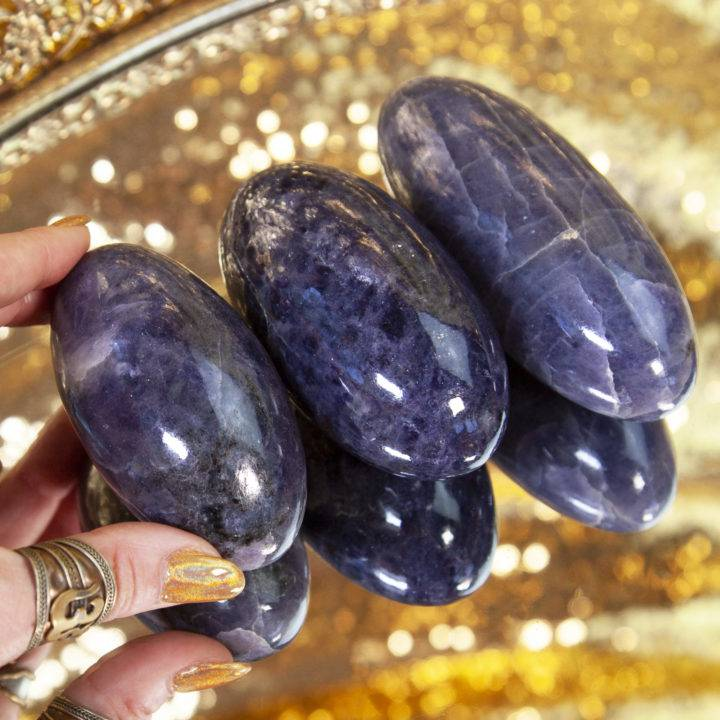 Iolite Shiva Lingams