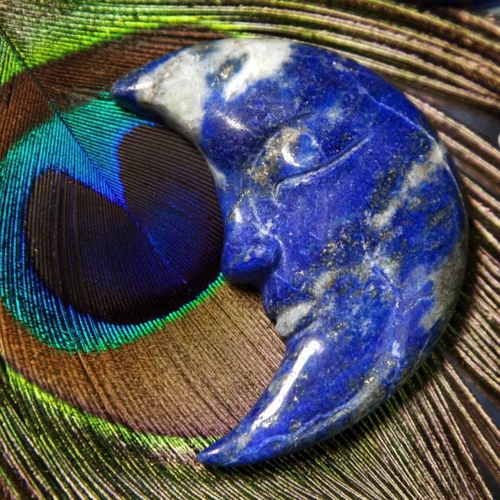 Lapis Lazuli Moon Carvings