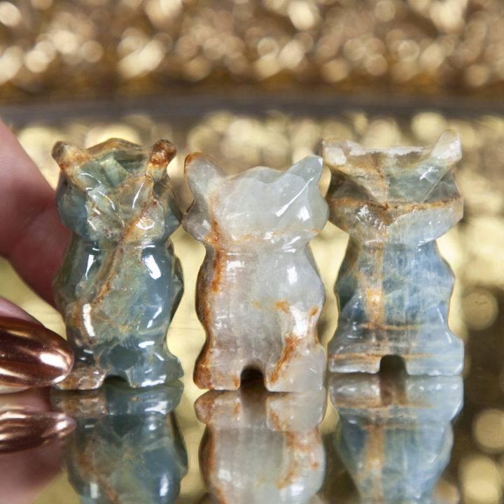 Lemurian Blue Calcite Owls