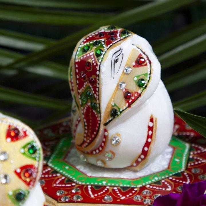 Marble Chowki Good Fortune Ganeshas