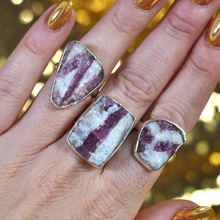 Natural Pink Tourmaline Adjustable Ring