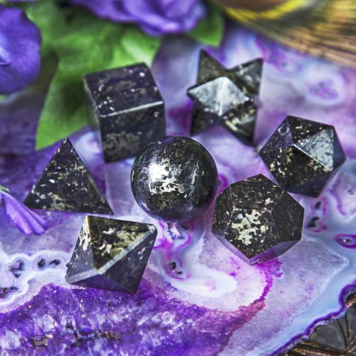 Nuummite Platonic Solids Set