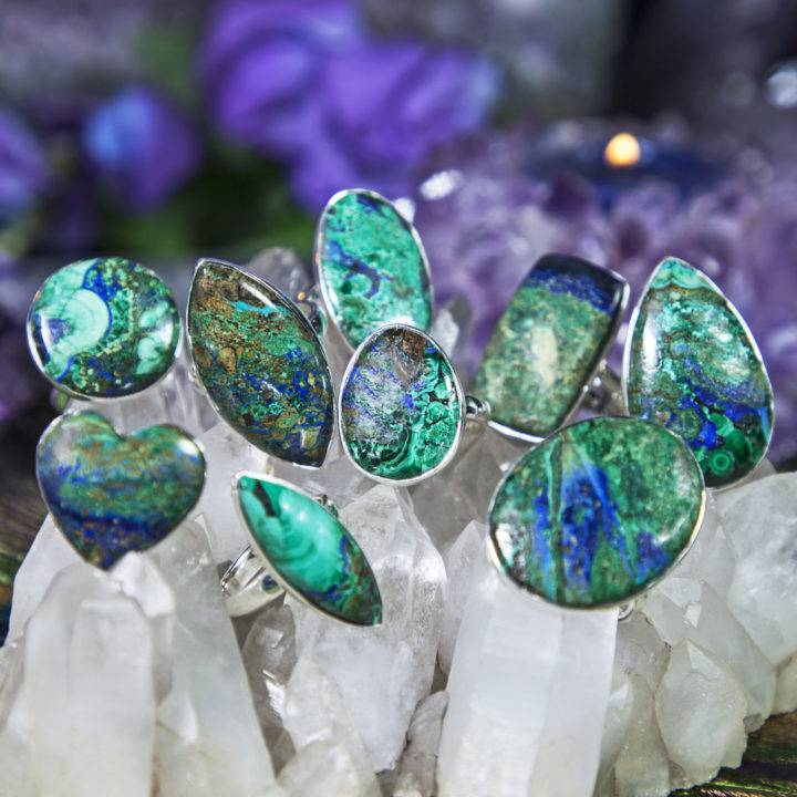 Priestess Power Azurite and Malachite Rings