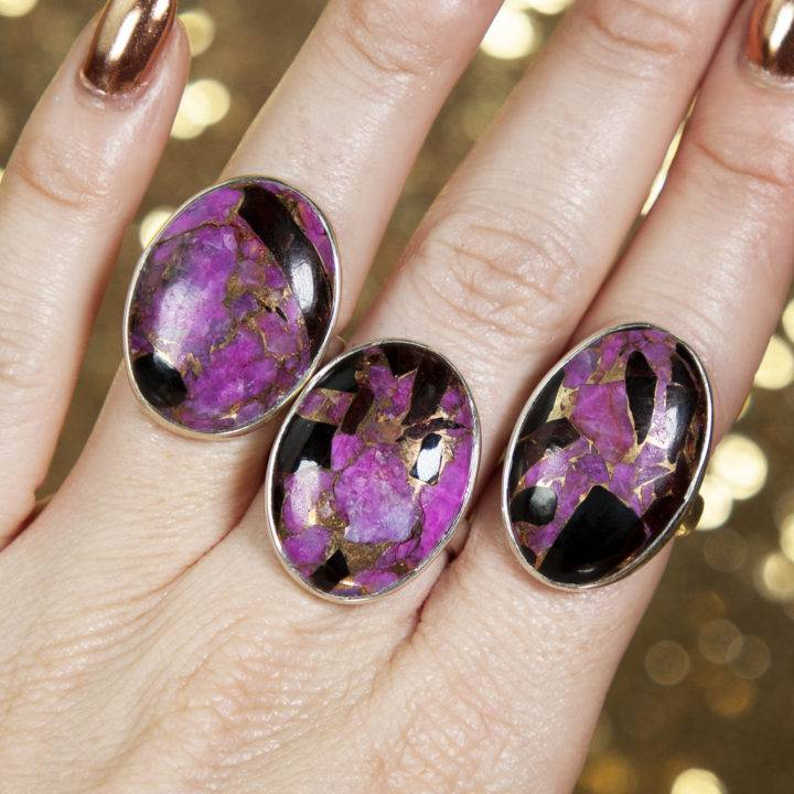 Purple Mojave Copper Turquoise Sterling Silver Adjustable Rings