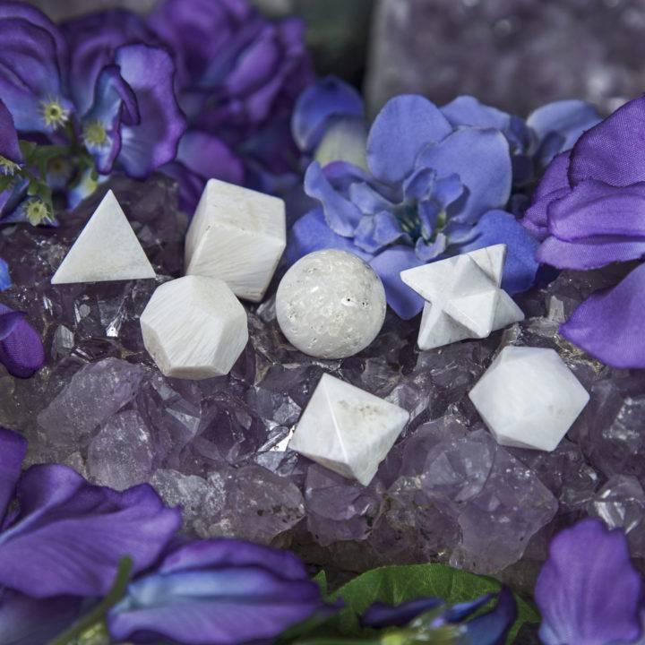 Scolecite Platonic Solids Set