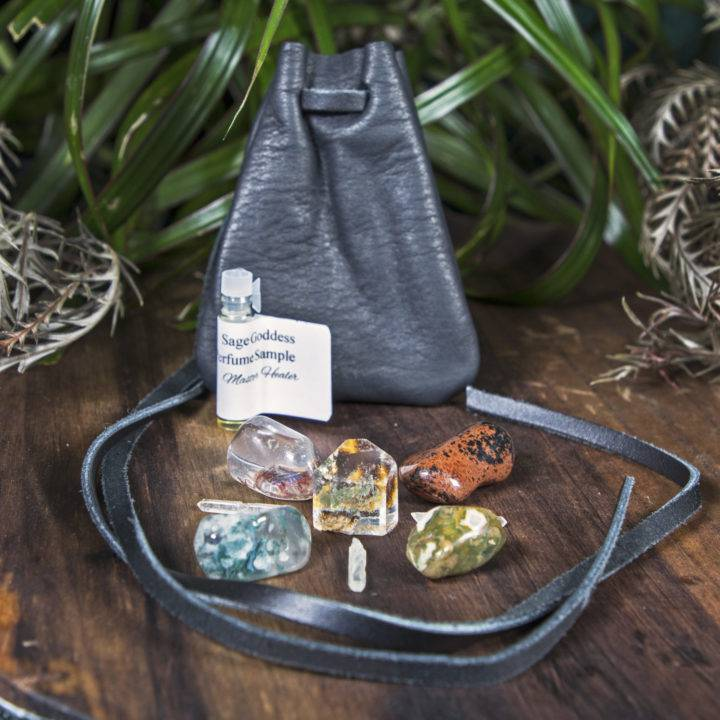 Shadow Season Protection and Healing Crystal Grid with Medicine Bag