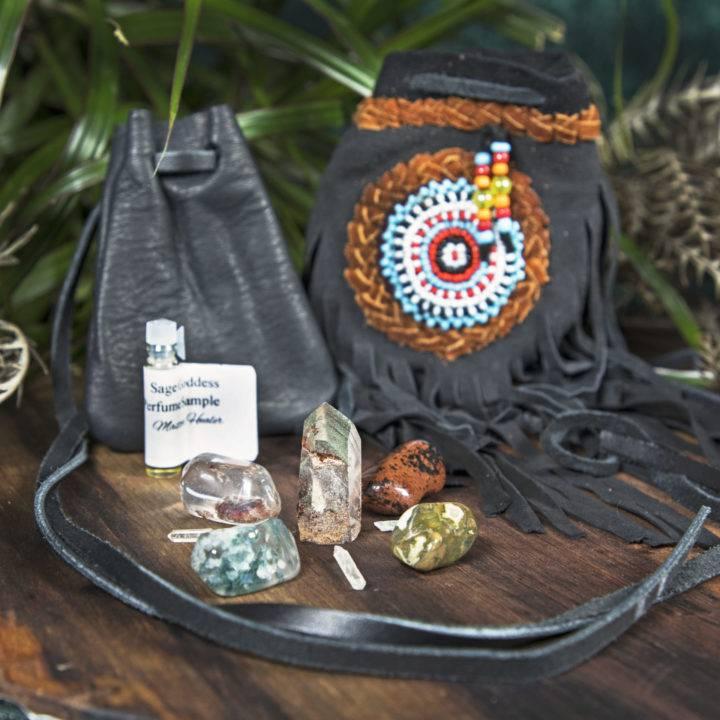 Shadow Season Protection and Healing Crystal Grid with Medicine Bag