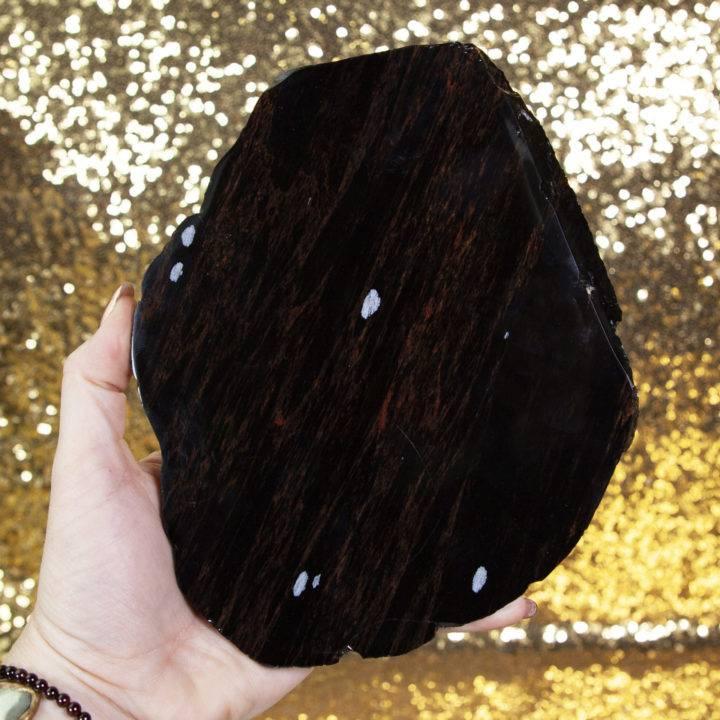 Snowflake Mahogany Obsidian Charging Plates