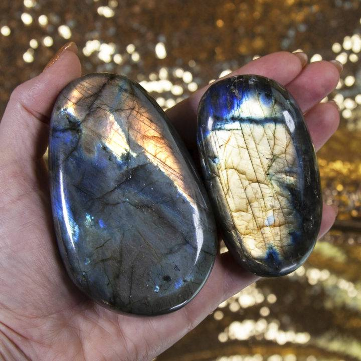 Super Flash Labradorite Palm Stones