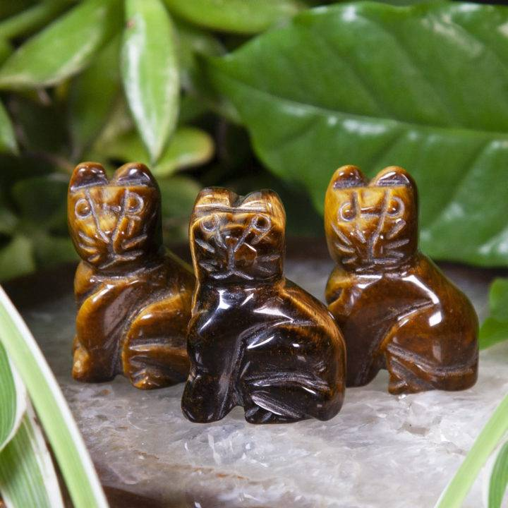 Tigers Eye Cat Carvings
