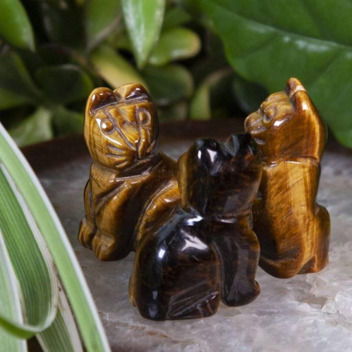 Tigers Eye Cat Carvings