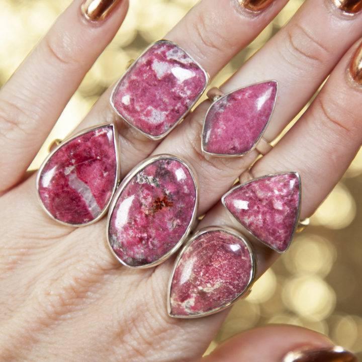 Pink Thulite Sterling Silver Adjustable Rings