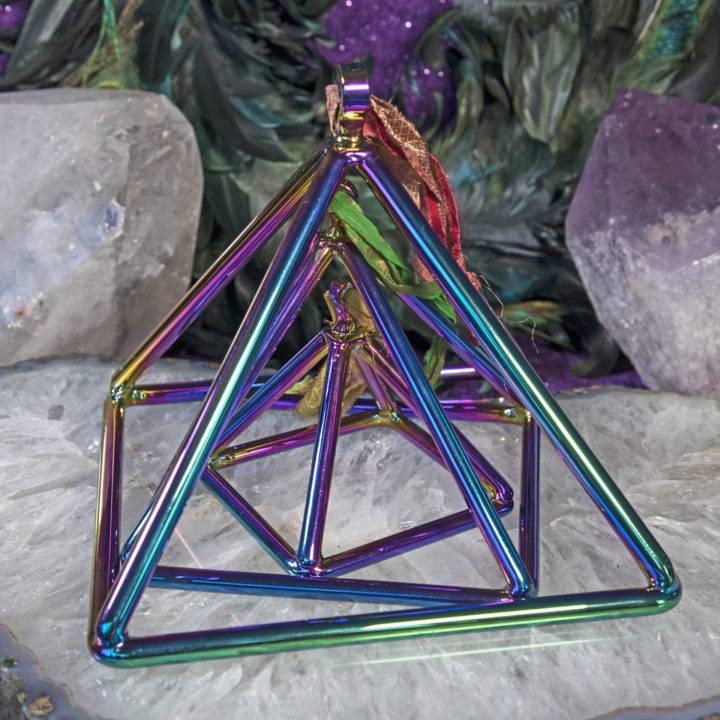 Titanium Aura Quartz Singing Pyramids with Mallet