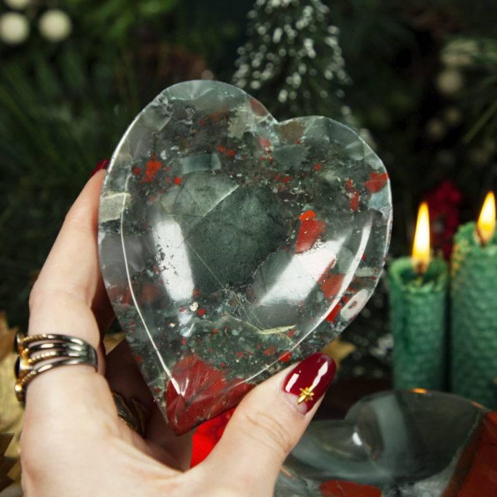 African Bloodstone Heart Bowls