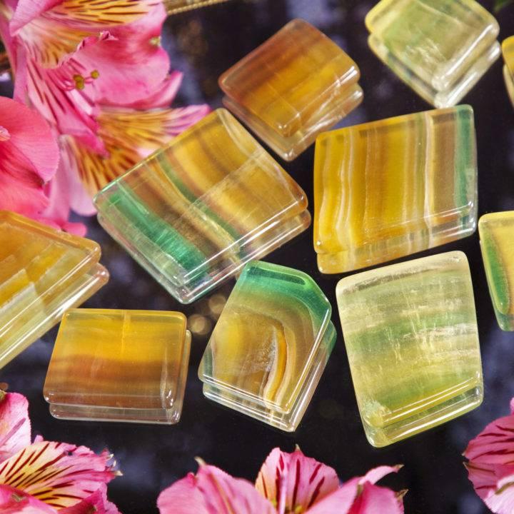 Argentinian Rainbow Yellow Fluorite Bra Stones