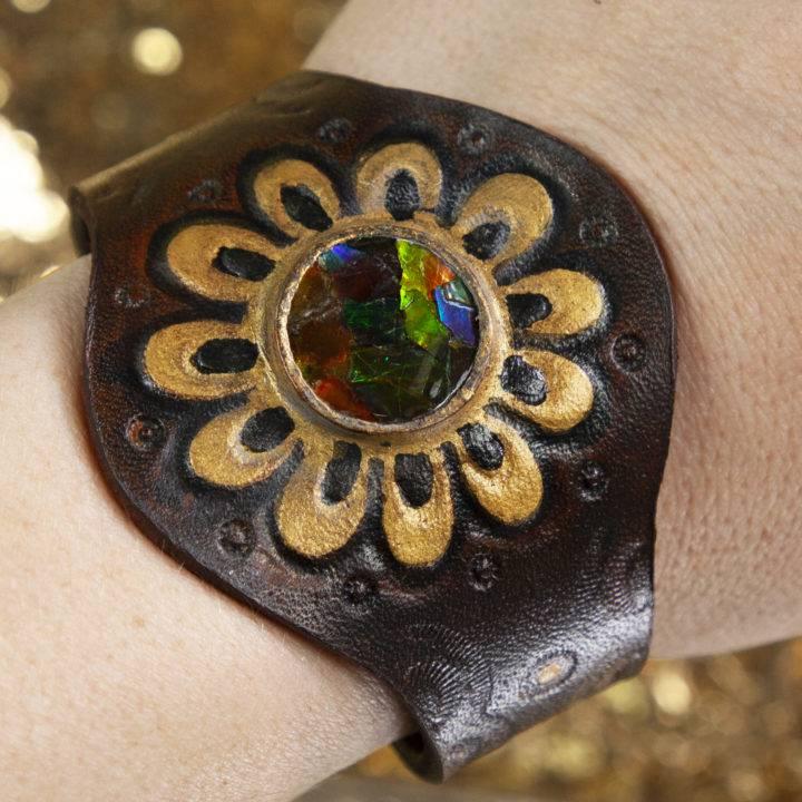 Ammolite Leather Bracelet