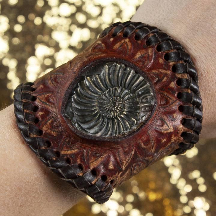 Ammonite with Brass Brush Coating Leather Bracelet