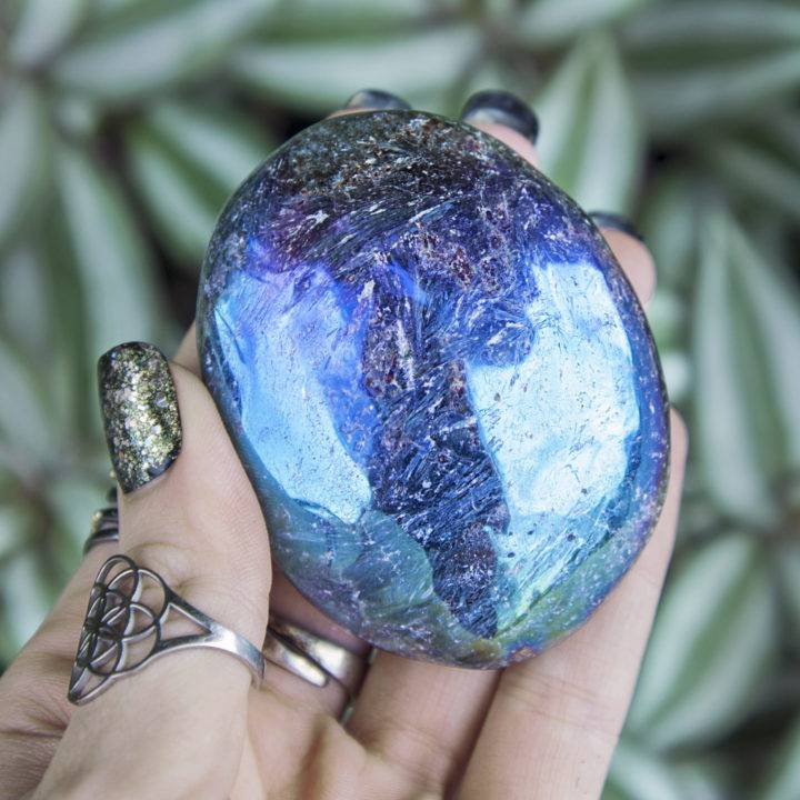 Angel Aura Arfvedsonite Palm Stones